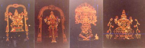 ब्रह्मोत्सवम् पर प्रज्वलित विद्युत्-बल्बों से निर्मित देवता की रेखाकृतियां